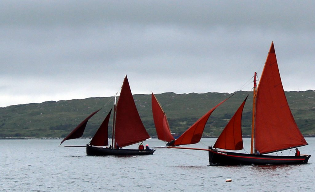 Traditional sailing boats and Galway Hookers on Clifden Bay Traditional Sailing Boats in Clifden