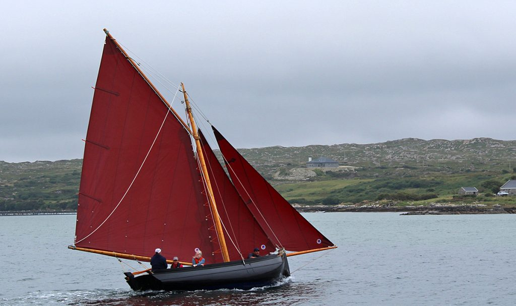 Traditional sailing boats and Galway Hookers on Clifden Bay