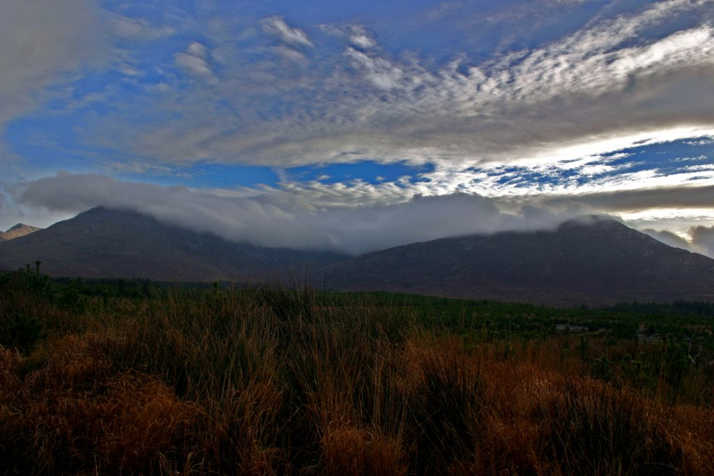 Clouds shrouding the mountains